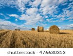 freshly rolled hay bales in a... | Shutterstock . vector #476630353
