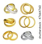3d gold wedding rings  isolated ... | Shutterstock . vector #47664760