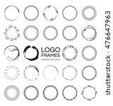 set of handdrawn round frames...   Shutterstock .eps vector #476647963