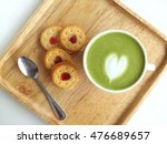 a cup of matcha latte art with...   Shutterstock . vector #476689657