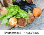 Fresh Mushrooms In A Wicker...