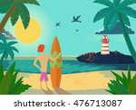 cartoon surfer holding a surf... | Shutterstock .eps vector #476713087