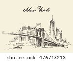 manhattan bridge. new york ... | Shutterstock .eps vector #476713213