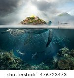 beautiful underwater view... | Shutterstock . vector #476723473