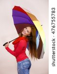 woman fashionable rainy smiling ... | Shutterstock . vector #476755783