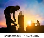 workers extract and cut the... | Shutterstock . vector #476762887