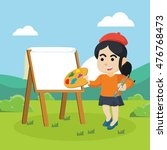 painter woman painting in... | Shutterstock .eps vector #476768473