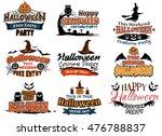 colorful set of happy halloween ... | Shutterstock . vector #476788837