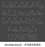 thin line vector font. alphabet ... | Shutterstock .eps vector #476834083