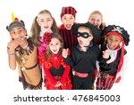 group of kids in halloween...   Shutterstock . vector #476845003
