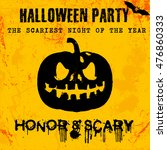 halloween party greeting card... | Shutterstock .eps vector #476860333