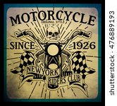 vintage motorcycle hand drawn... | Shutterstock . vector #476889193