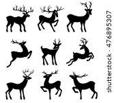 nine black deer set silhouettes ... | Shutterstock . vector #476895307