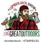 lumberjack template logo.... | Shutterstock .eps vector #476898133