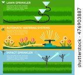 automatic sprinklers watering.... | Shutterstock .eps vector #476903887