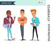 set of diverse college or... | Shutterstock .eps vector #476908933