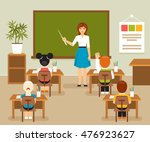 school lesson with the teacher... | Shutterstock .eps vector #476923627