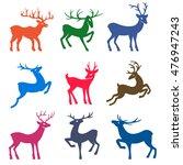 Nine Colored Deer Set...
