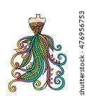 hand drawn elegant woman dress. | Shutterstock .eps vector #476956753