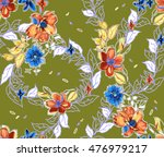 fabric textile printing design | Shutterstock . vector #476979217
