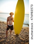 young surfer holding surf board ... | Shutterstock . vector #476983573