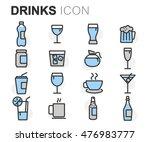 vector flat line drinks icons...   Shutterstock .eps vector #476983777