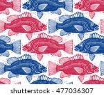 seamless sea vector pattern ... | Shutterstock .eps vector #477036307