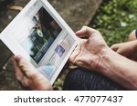 tennis techiques video tutorial ... | Shutterstock . vector #477077437