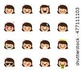 vector girl emoticons... | Shutterstock .eps vector #477111103