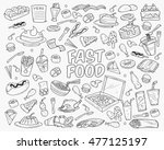 fast food doodles hand drawn... | Shutterstock .eps vector #477125197