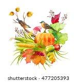 watercolor thanksgiving... | Shutterstock . vector #477205393