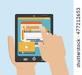 tablet black website hand... | Shutterstock .eps vector #477212653