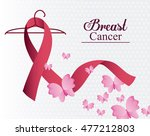 butterfly ribbon breast cancer... | Shutterstock .eps vector #477212803
