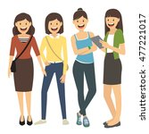 women standing isolated on... | Shutterstock .eps vector #477221017