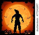 halloween theme  werewolf on... | Shutterstock .eps vector #477241897