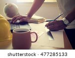 hands of architect drawing... | Shutterstock . vector #477285133