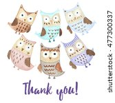 thank you card with cute owls.... | Shutterstock . vector #477300337