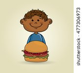 boy burger food | Shutterstock .eps vector #477306973