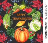 happy thanksgiving card with... | Shutterstock . vector #477311047