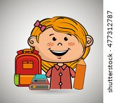 girl student bag color book | Shutterstock .eps vector #477312787