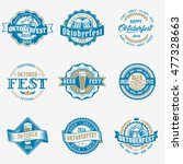 retro styled vector blue logo... | Shutterstock .eps vector #477328663