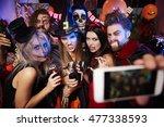 spooky friends posing on the... | Shutterstock . vector #477338593