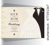 wedding invitation or card with ... | Shutterstock .eps vector #477351367