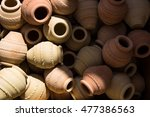 pottery for sale at nizwa oman | Shutterstock . vector #477386563