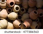 pottery for sale at nizwa oman | Shutterstock . vector #477386563