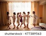 wedding morning. bridesmaids... | Shutterstock . vector #477389563