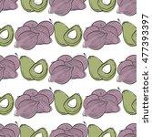 hand drawn vegetables pattern... | Shutterstock .eps vector #477393397
