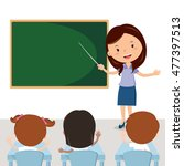 cheerful teacher teaching in... | Shutterstock .eps vector #477397513