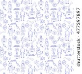 seamless pattern with cartoon... | Shutterstock . vector #477397897