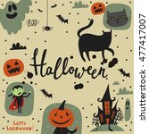 happy halloween card  | Shutterstock .eps vector #477417007